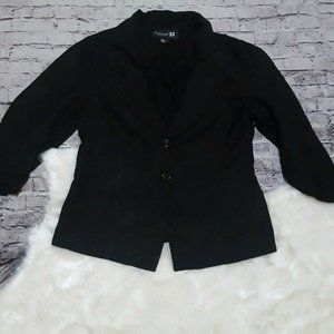 Forever 21 Black Linen Blend Blazer 3/4 Sleeves